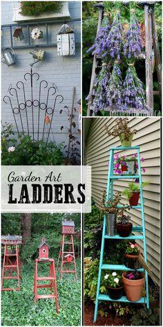 Garden trends: using old wooden ladders as garden art. Gallery of Garden Art Ladders curated by empressofdirt.net