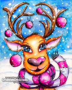 Creative Creations by Andrea Gomoll | Winter Whimsy Reindeer with Watercolors | http://andrea-gomoll.de