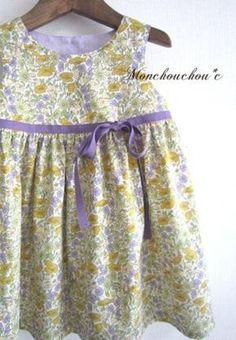 こども服 - リバティ<Poppy&Daisy>胸元リボンふんわりギャザーワンピース 100