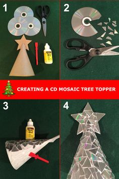 Make your Christmas tree sparkle by creating a CD mosaic Christmas tree topper. Step by step guide for upcycling old CDs into Christmas decorations. #christmas #decorations #tree #topper