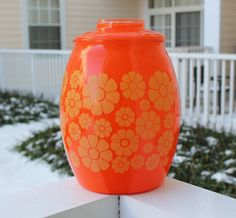 Vintage Bartlett Collins Orange Flower Cookie Jar - Retro kitchen, kitchen storage, orange decor