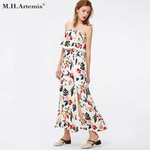 26a5a8e2f73c4f Boho Chic stijl Lange jurk Elegant off schouder bloemenprint split jurk  ruffle maxi jurk 2018 zomer