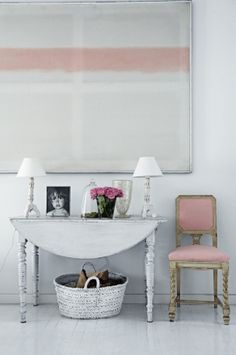 chic & stylish- have table and art and chairs. alternative vignette across desk