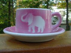 Vintage Jackson China Pink Airbrush Elephant Restaurant Coffee Tea Cup Saucer | eBay