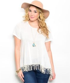 Ivory Top Lace Fringe Detail Curvy Top