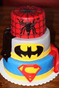 Soooo, Carter asked me the other day if I would make him a superhero cake for his Birthday. Well, since I suck at cake decorating, I was wondering if one of you fine lady's would help/make it for him. Fancy Cakes, Cute Cakes, Beautiful Cakes, Amazing Cakes, Cake Pops, All Spiderman, Superhero Cake, Creative Cakes, Snack