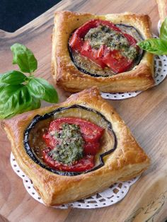 Eggplant, Tomato and Pesto Puff Pastry Tarts