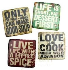 "Set of 4 Art Deco Live Life Love Cooking Word Quote Coasters Home Decor    Always entertaining. Adds warmth and personality to ""my"" dream room :)    #onekingslane    #designisneverdone"