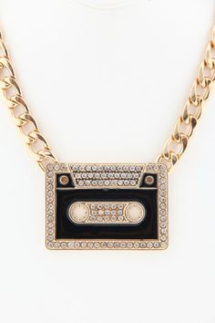 Cassette Tape Chain Necklace - Gold