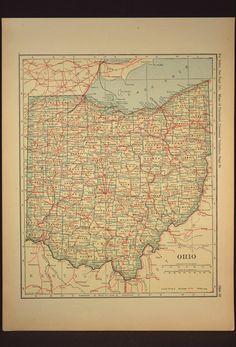 Ohio Map Ohio Original Railroad Antique 1920s Yellow
