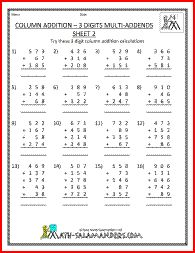 math worksheet : 1000 images about 4th grade math worksheets on pinterest  math  : Maths Column Addition Worksheets