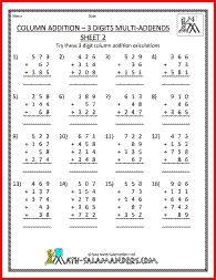 column addition multi addends th grade addition worksheets  column addition multi addends th grade addition worksheets   educationschool  pinterest  math addition math and worksheets