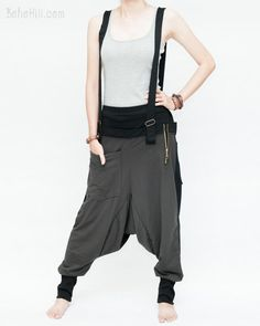 Suspenders Harem Pants Heavy Jersey Cotton Blend Two-Tone (Charcoal)