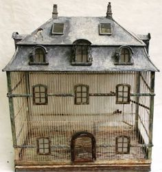 Mid Centtury birdcage in the form of a mansard roof mansion with wire and zinc glass windows and sky lights. Antique Bird Cages, The Caged Bird Sings, Mansard Roof, Gazebo, Up House, My New Room, Skylight, Bird Feathers, Beautiful Birds