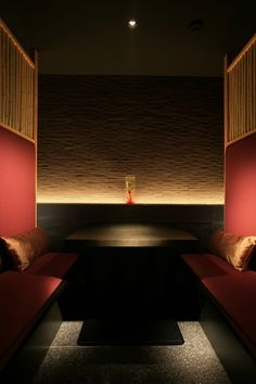 Official website of interior designing office / fan Inc. Restaurant Lighting, Restaurant Tables, Restaurant Design, Linear Lighting, Lighting Design, Bar Lighting, Booth Seating, Banquette Seating, Japanese Modern