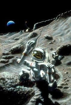 A teleoperated robotic rover retrieves a sample from an outcrop on the Moon. Determining the formation age of such rocks is an important scientific goal. Artwork by Pat Rawlings. Read more in Paul Spudis' new post:
