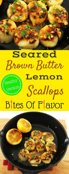 Seared Brown Butter Lemon Scallops- Weight Watcher friendly scallop recipe that is decadent and easy to make.  Brown butter sauce is creamy and light!  Only 5 SmartPoints for 4 scallops!