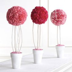 CARNATION POMANDER ON TWIGGY LEGS. Colored filler, e.g., stones, glass rocks. Base can be filled with spray foam insulating sealant that you can get at Home Depot or Walmart. Then you put the decorative filler on top.