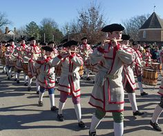 The Fife and Drum Corps performs in front of the Courthouse in Colonial Williamsburg on a cold winter day.