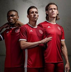 This is the new Denmark home jersey 2016, the new home kit for the Danish national football team. Made by Adidas, the new strip was officially unveiled on November 5, 2015 and will make its debut i…