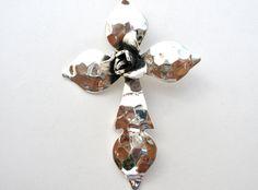 Sterling Silver Flower Hammered Cross Slide Pendant