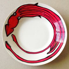Colossal Squid Hand Painted Ceramic Bowl. by DixonDoesDoodles