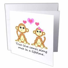 3dRose True Love Comes Along Once in a Lifetime – Cute Monkey Love Design, Greeting Cards, 6 x 6 inches, set of 12
