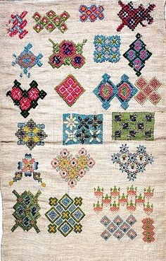♒ Enchanting Embroidery ♒ embroidered English sampler, early 17th century.