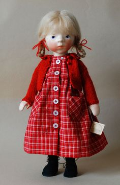 Girl In Red Plaid Dress by Elisabeth Pongratz at The Toy Shoppe ~Via Maureen Clemens Pretty Dolls, Beautiful Dolls, Sasha Doll, Plaid Dress, Dress Red, Wooden Dolls, Waldorf Dolls, Hello Dolly, Fabric Dolls