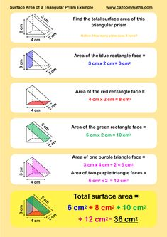 Surface Area Of A Triangular Prism Example Math Worksheets 7th Grade Math Worksheets, Gre Math, Grade 6 Math, Geometry Worksheets, Maths, Trigonometry Worksheets, Math Vocabulary, Sixth Grade, Math Teacher