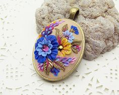 SUNSET GARDEN floral pendant, bronze tone oval metal bezel 30x23 mm, polymer clay filigree applique embroidery technique. Gift idea for her