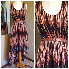Worthington hi-low dress Gorgeous Worthington hi-low dress with a beautiful print. Easy care polyester. True to size. Excellent condition. Original belt missing so I added one I had. Super feminine Worthington Dresses High Low