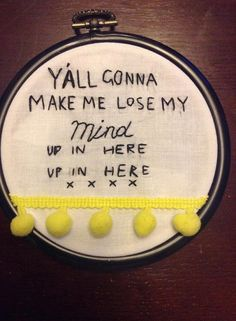 Miniature Lyric Pom Pom embroidery hoop by DragonFlyDesignsxo