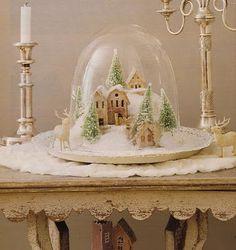 Pretty winter village under the cloche (Xmas decor idea -- Cost Plus has these, or can use small cake plate cover)
