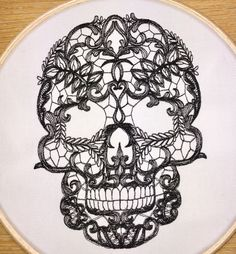 Black lace skull embroidery hoop art black by StitchesOfAnarchy
