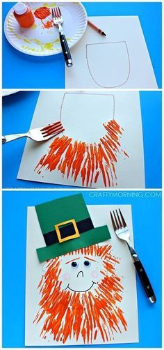 Leprechaun Craft with a Fork Print Beard - Crafty Morning 10 St Patricks Day Crafts for Kids Toddlers Preschool Easy DIY March Crafts, St Patrick's Day Crafts, Daycare Crafts, Classroom Crafts, Toddler Crafts, Holiday Crafts, Fun Crafts, Classroom Fun, At Home Crafts For Kids