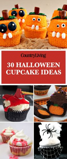 Save these halloween cupcake ideas for later by pinning this image and follow Country Living on Pinterest for more.