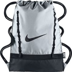 Nike Brasilia 7 Gymsack Sack Pack (€13) ❤ liked on Polyvore featuring bags, backpacks, grey, school & day hiking backpacks, gray backpack, nike, knapsack bags, rucksack bag and water resistant bag