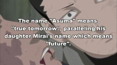 All that THE PERSON ASUMA was in the shikamaru's heart a especial person it so sad that Asuma can't to see his daughter with his team and his girldfriend.           :(