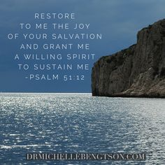 Restore to me the joy of your salvation and grant me a willing spirit to sustain me. Psalm 51:12 Christian Inspiration Quote. Bible Verse. Scripture.