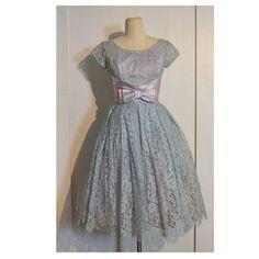 VINTAGE 1950's Prom Dress // Light Blue Lace by villavillavintage