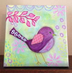 Original Painting for Girl, Purple Pink Whimsical Bird, 8x8 Canvas, Flowers, Baby Room, Pastels on Etsy, $46.50