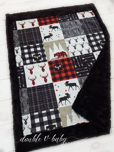 Rustic Woodland Baby Blanket with Moose Bear and Deer in Black and Red Buffalo Plaid Lumberjack Easy Baby Blanket, Minky Blanket, Baby Blankets, Rustic Baby Rooms, Baby Room Furniture, Black And White Quilts, Woodland Baby, Woodland Theme, Baby Sewing Projects