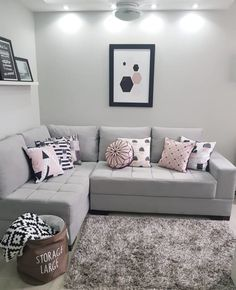 Gray sofa: 85 ideas on how to use this versatile furniture for decoration Simple Living Room Decor, Home Design Living Room, Living Room Decor Inspiration, Teen Bedroom Designs, Gray Sofa, Interior Design, Furniture, Home Decor, Gray Decor