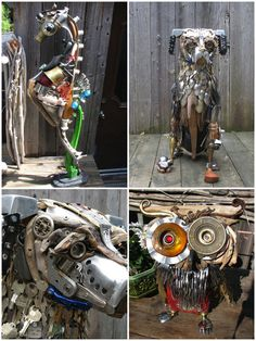 """Sculptures made by Nathalie Trepanier which describes herself as a treasures hunter ! """"I ama treasures hunter,whether onthe sand of abeach in Gaspésie"""