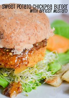 #MeatlessMonday with #vegan Sweet Potato Chickpea Burger with Apricot Mustard http://www.miratelinc.com/blog/meatless-monday-with-sweet-potato-chickpea-burger-with-apricot-mustard/ @miratel