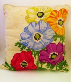 Vintage Embroidered Pillow Poppy Pillow Red Blue by Comforte, $24.00