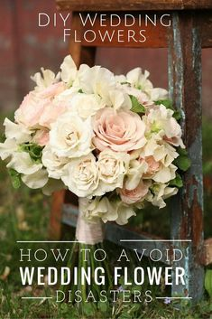 Are you planning on using DIY wedding flowers on your wedding day? Here are very IMPORTANT tips you need to know to avoid DIY wedding flower disasters! Turquoise Wedding Flowers, Neutral Wedding Flowers, Spring Wedding Flowers, Rustic Wedding Flowers, Flower Bouquet Wedding, Bridal Bouquets, Summer Wedding, Inexpensive Wedding Flowers, Diy Wedding Decorations