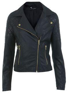Miss Selfridge Gold Trim Faux Leather Biker