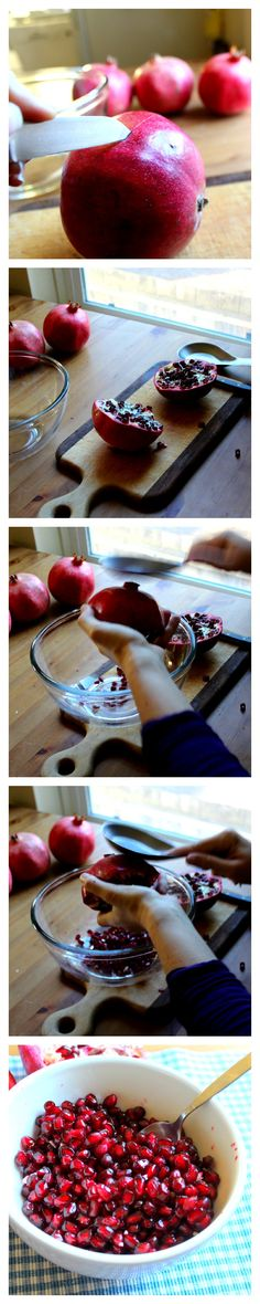 How to deseed a pomegranate super fast using common kitchen tools and no water!  Where has this been all my life? So many missed out pomegranates and stained clothes!